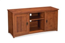 """San Miguel TV Console with Wood Doors and Open Center, 60"""", Character Quartersawn"""