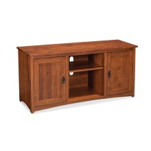 "San Miguel TV Console with Wood Doors and Open Center, 60"", Character Quartersawn"