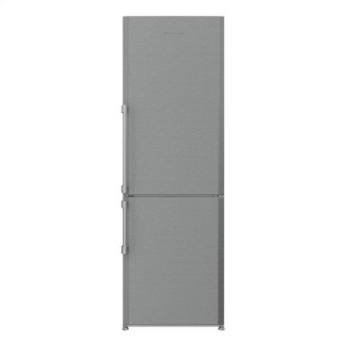 "24"" 13 cu ft bottom freezer fridge with internal ice maker, stainless"