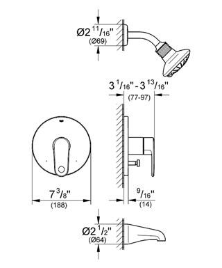 Additional Grohe Starlight Chrome Pressure Balance Valve Bath Combination