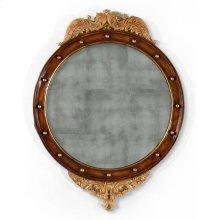 Regency Walnut & Gilt Round Convex glomise Mirror (Large)