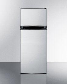 11.9 cu.ft. frost-free refrigerator-freezer with black cabinet, stainless steel doors, and icemaker