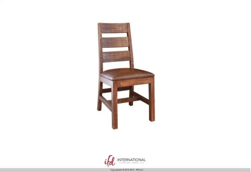 Chair w/Ladder Back, with Faux Leather seat - Solid Wood**