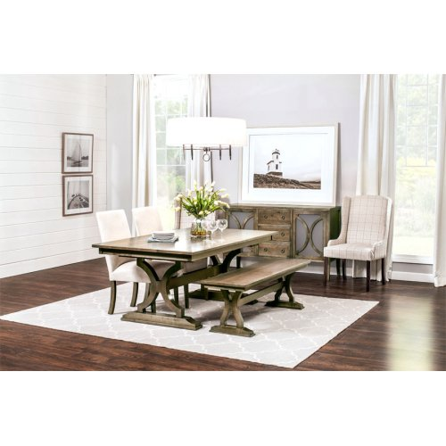 """Hamptons Trestle Table,, Hamptons Trestle Table, 48""""x66"""", 1-18"""" Stationary Butterfly Leaf on Each End"""