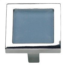 Spa Blue Square Knob 1 3/8 Inch - Polished Chrome