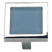 Spa Blue Square Knob 1 3/8 Inch - Polished Chrome