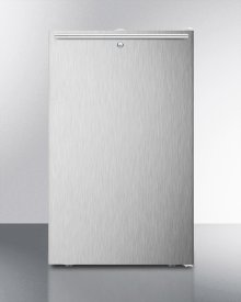 """ADA Compliant 20"""" Wide Freestanding Refrigerator-freezer With A Lock, Stainless Steel Door, Horizontal Handle and White Cabinet"""