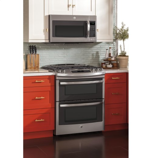 "GE Profile™ Series 30"" Slide-In Front Control Double Oven Gas Range"