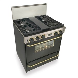 """Five Star30"""" All Gas, Convect, Sealed Burners, Black with Brass"""