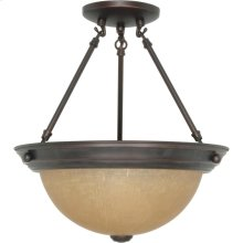 2-Light Medium Dome Semi Flush Ceiling Light Fixture in Mahogany Bronze Finish with Champagne Linen Glass