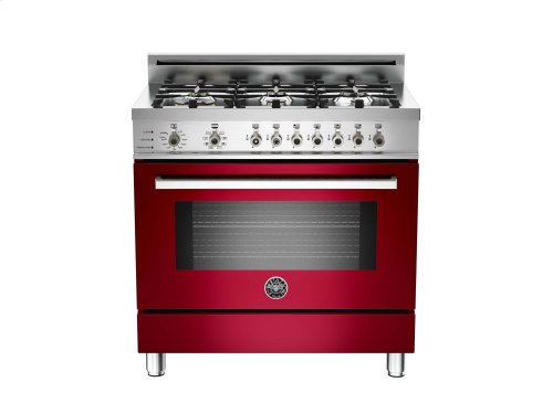 36 6-Burner, Electric Self-Clean Oven Burgundy