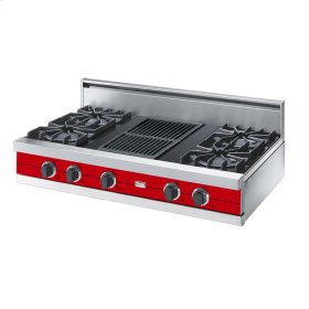 """Racing Red 42"""" Open Burner Rangetop - VGRT (42"""" wide, four burners 12"""" wide char-grill)"""