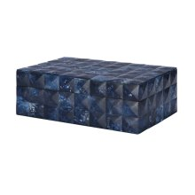 Hand Crafted Decorative Box With Fabric Lining & Removable Lid Featuring Resin Tiles In A Dark Blue Geometric Pattern.