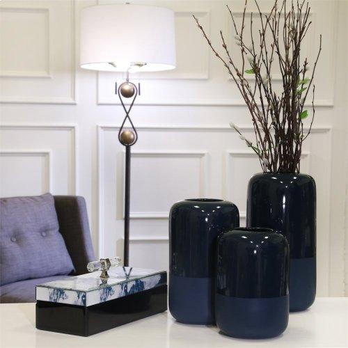 """Ceramic Vase 9.75"""", Two Tone Blue"""