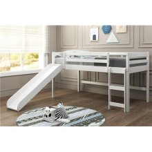 Pine Ridge White Low Loft Bed with Slide with options: Twin, With Slide