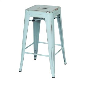 Metropolis Metal Backless Counter Stool, Distressed Aqua