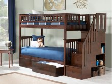 Columbia Staircase Bunk Bed Twin over Twin with Urban Bed Drawers in Walnut