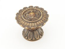 "Solid Brass, Symphony, Round Knob, 2"" diameter, Monticello Brass finish"