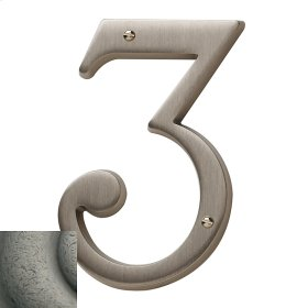 Distressed Antique Nickel House Number - 3