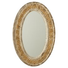 Distressed Ivory & Gold Carved Oval Wall Mirror