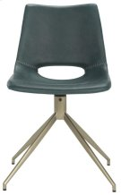 Danube Midcentury Modern Leather Swivel Dining Chair - Blue / Brass Product Image