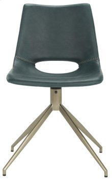Danube Midcentury Modern Leather Swivel Dining Chair - Blue / Brass
