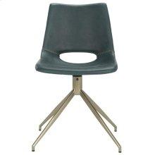 Danube Midcentury Modern Leather Swivel Dining Chair - Blue / Brass