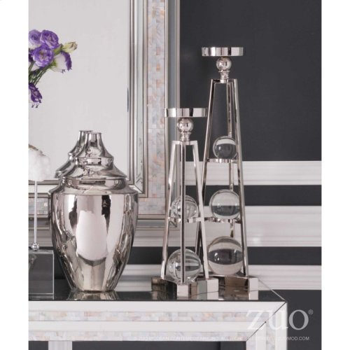 Candle Holder With Orbs Lg Nickel
