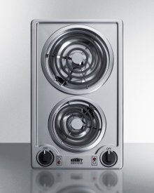 115v 2-burner Coil Cooktop In Stainless Steel With Cord Included; Made In the USA
