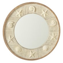 Round Whitewash Shell Wall Mirror.
