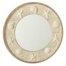 Round Whitewash Shell Wall Mirror