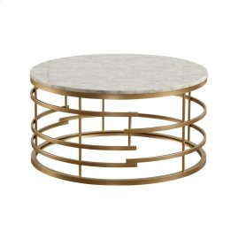 Round Cocktail Table with Faux Marble Top