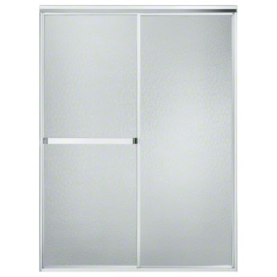 "Standard Sliding Shower Door - Height 65"", Max. Opening 48"" - Silver with Hammered Glass Texture"