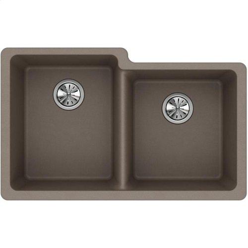 "Elkay Quartz Classic 33"" x 20-1/2"" x 9-1/2"", Offset Double Bowl Undermount Sink, Greige"