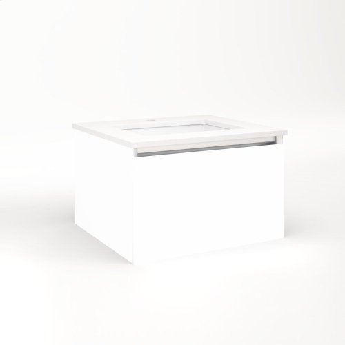 """Cartesian 24-1/8"""" X 15"""" X 21-3/4"""" Single Drawer Vanity In White With Slow-close Plumbing Drawer and Night Light In 5000k Temperature (cool Light)"""
