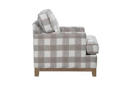 Upholstered Chair, Non Skirted. Avaliable with 5'' Plinth Base in Grey Wash, Cottage White, Royal Oak, Black Teak, White Teak, or Vintage smoke Finish.