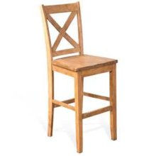 "30""H Crossback Barstool, Wood Seat"