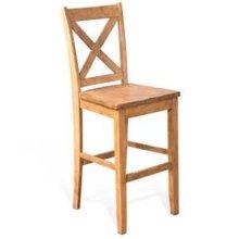 "30""H Crossback Barstool, Wood Seat"