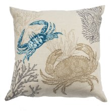 Embroidered Crab Pillow.
