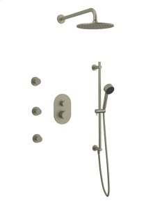 Rain Head + Body Jets + Slide Bar Hand Held RND - Brushed Nickel