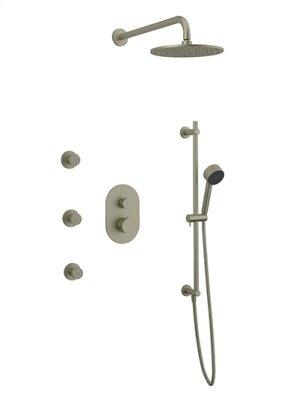 Rain Head + Body Jets + Slide Bar Hand Held RND - Brushed Nickel Product Image