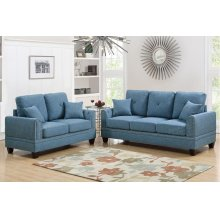 Blue Sofa and Love Seat with Silver Nail Head Trim