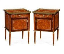 Pair of Burl & Mother of Pearl Bedside Cabinets