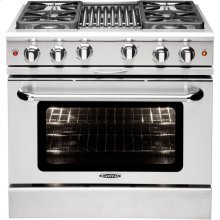 "36"" Gas Convection Range with 4 Sealed Burners 19K BTU + 12"" BBQ"