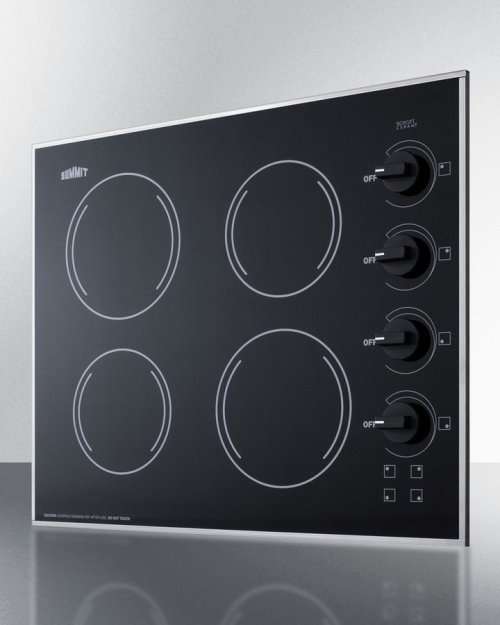 """24"""" Wide 4-burner Radiant Cooktop Made In the USA With A Shallow and Smooth Black Ceramic Glass Finish"""