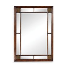 Rectangular Walnut Panelled Mirror with Brass Details