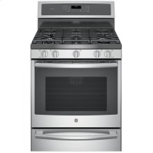 """GE Profile™ Series 30"""" Free-Standing Gas Convection Range with Warming Drawer"""