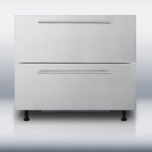 """36"""" wide two-drawer refrigerator for built-in installation, with stainless steel front and thin handles; made for us by Ariston in Italy"""