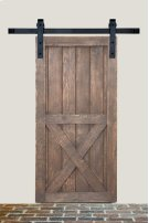 5' Barn Door Flat Track Hardware - Smooth Iron Square Style Product Image