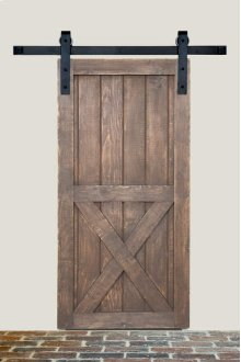 5' Barn Door Flat Track Hardware - Smooth Iron Square Style